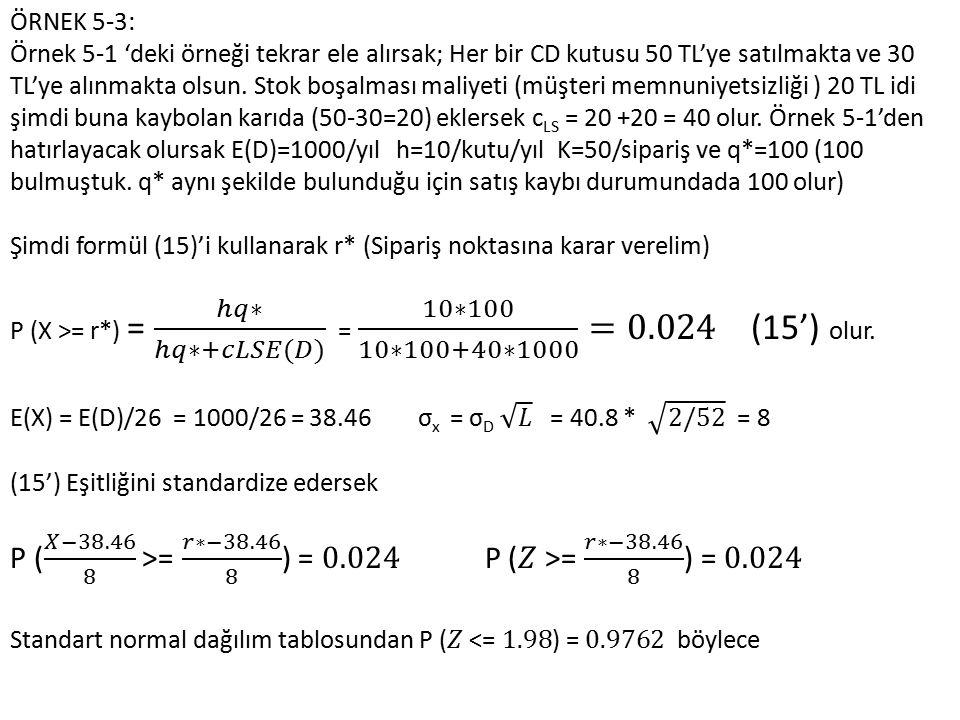 ÖRNEK 5-3: