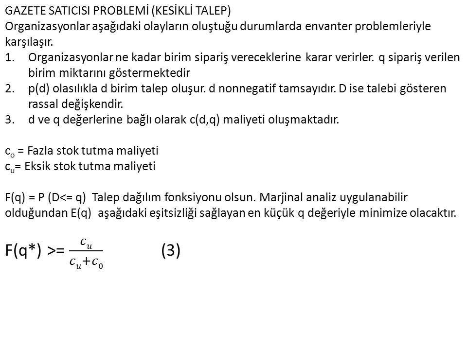 F(q*) >= 𝑐𝑢 𝑐𝑢+𝑐0 (3) GAZETE SATICISI PROBLEMİ (KESİKLİ TALEP)