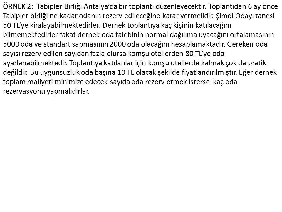 ÖRNEK 2: Tabipler Birliği Antalya'da bir toplantı düzenleyecektir