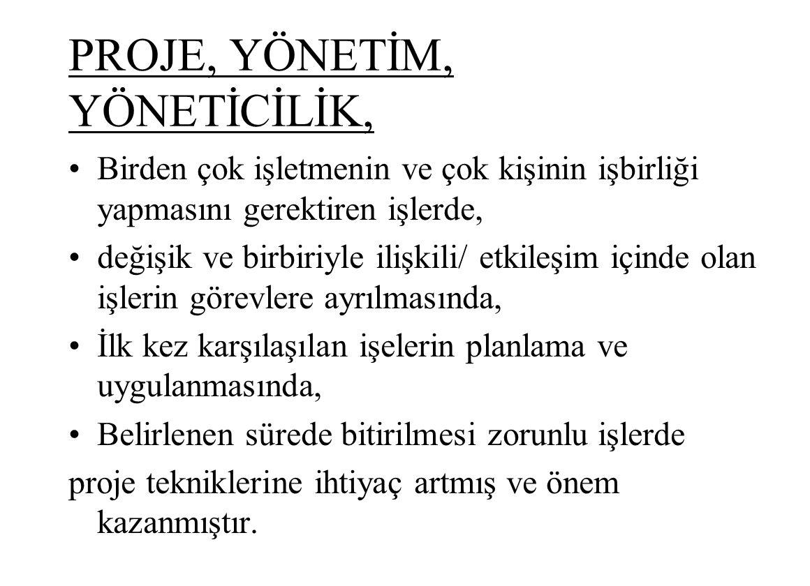 PROJE, YÖNETİM, YÖNETİCİLİK,