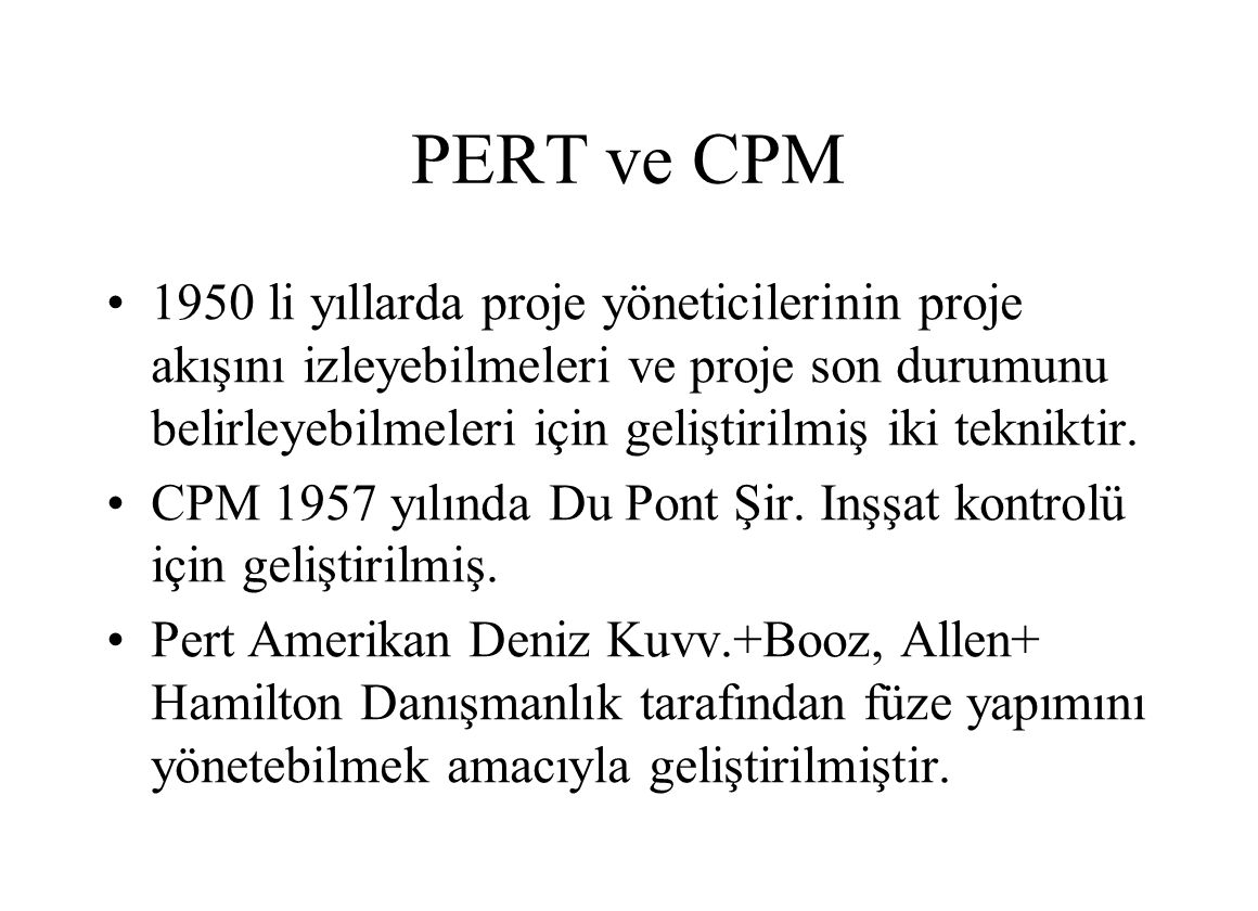 PERT ve CPM