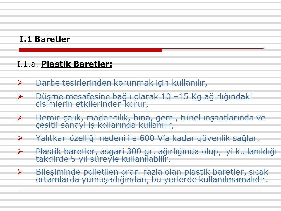 I.1 Baretler I.1.a. Plastik Baretler: