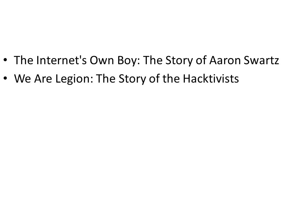 The Internet s Own Boy: The Story of Aaron Swartz