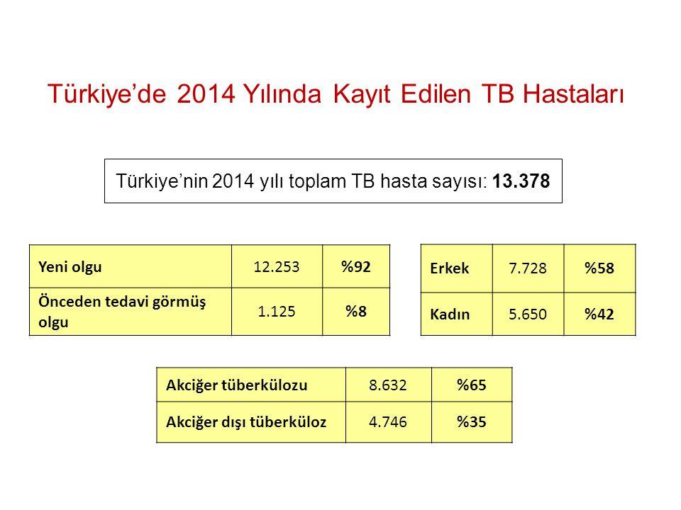 Türkiye'nin 2014 yılı toplam TB hasta sayısı: 13.378