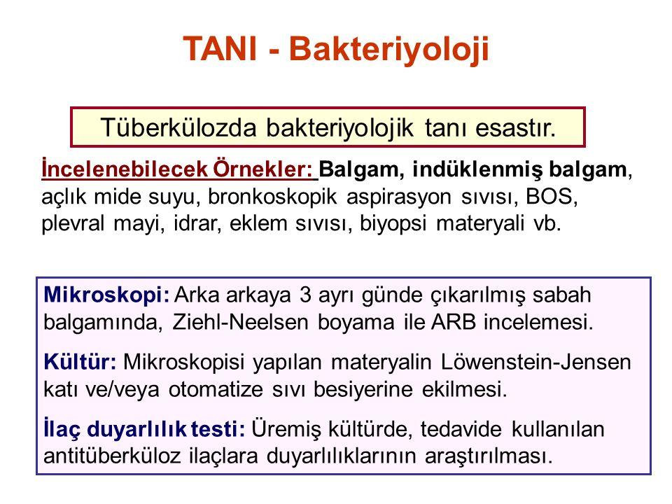 Tüberkülozda bakteriyolojik tanı esastır.