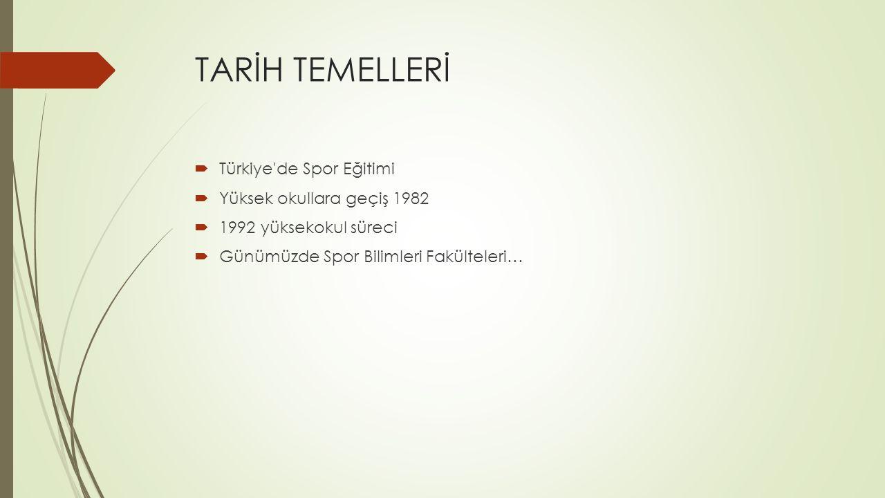 TARİH TEMELLERİ Türkiye de Spor Eğitimi Yüksek okullara geçiş 1982