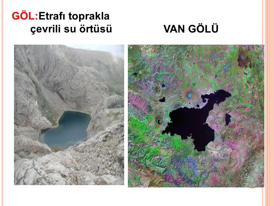GÖL:Etrafı toprakla çevrili su örtüsü