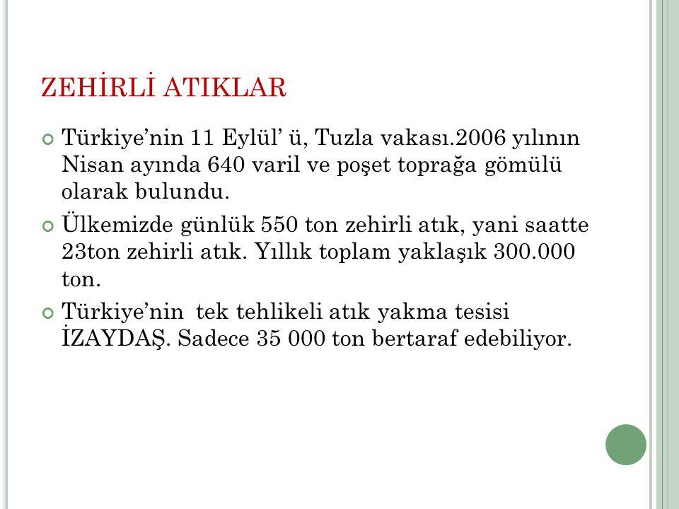 ZEHİRLİ ATIKLAR Türkiye'nin 11 Eylül' ü, Tuzla vakası.2006 yılının Nisan ayında 640 varil ve poşet toprağa gömülü olarak bulundu.