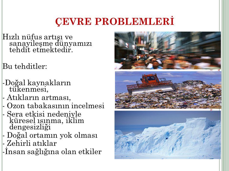 ÇEVRE PROBLEMLERİ Hızlı nüfus artışı ve sanayileşme dünyamızı tehdit etmektedir. Bu tehditler: -Doğal kaynakların tükenmesi,