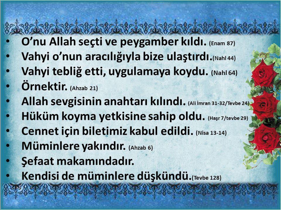 O'nu Allah seçti ve peygamber kıldı. (Enam 87)