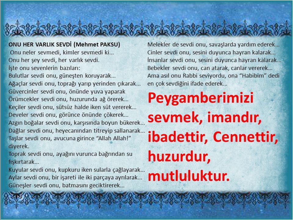 ONU HER VARLIK SEVDİ (Mehmet PAKSU)