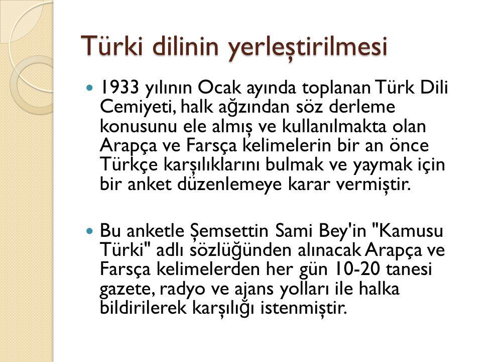 Türki dilinin yerleştirilmesi