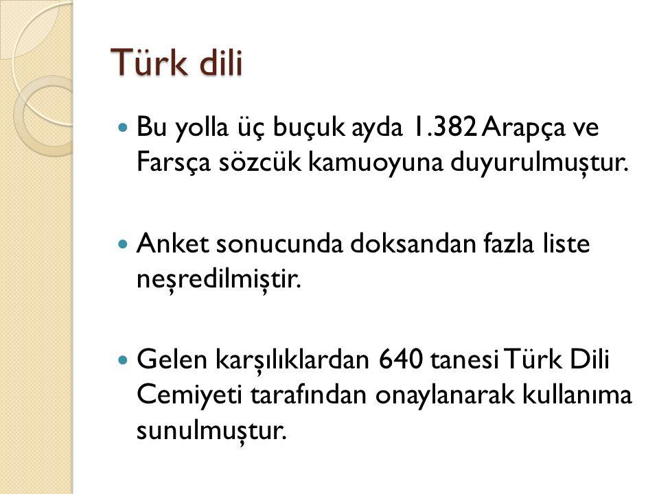Türk dili Bu yolla üç buçuk ayda 1.382 Arapça ve Farsça sözcük kamuoyuna duyurulmuştur. Anket sonucunda doksandan fazla liste neşredilmiştir.