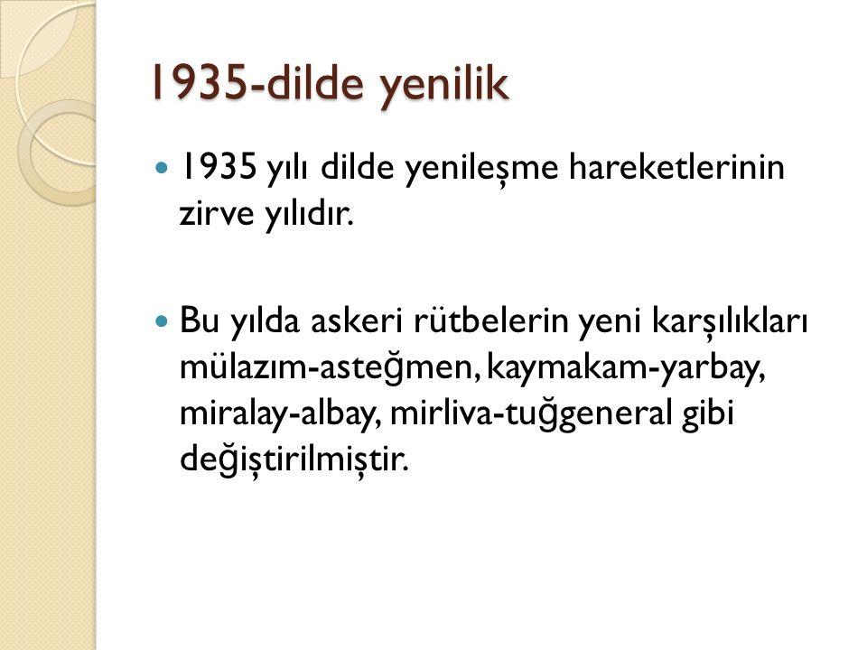 1935-dilde yenilik 1935 yılı dilde yenileşme hareketlerinin zirve yılıdır.
