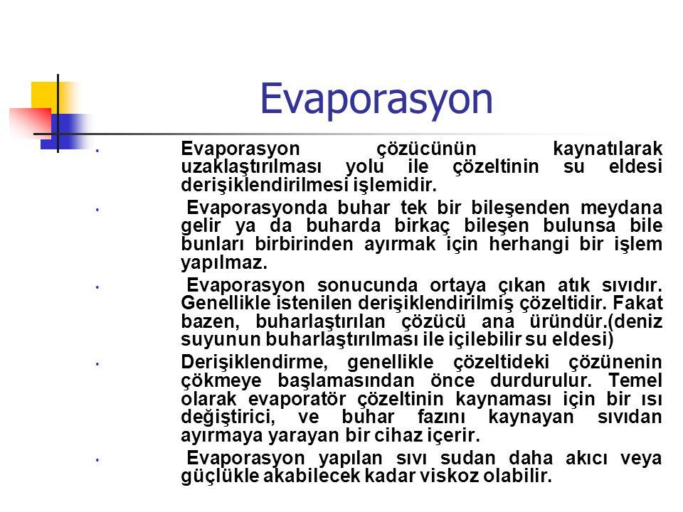 Evaporasyon Evaporasyon çözücünün kaynatılarak uzaklaştırılması yolu ile çözeltinin su eldesi derişiklendirilmesi işlemidir.