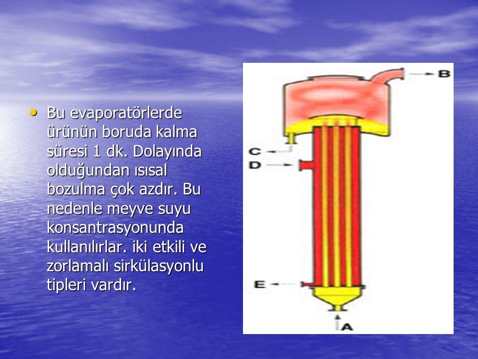 Bu evaporatörlerde ürünün boruda kalma süresi 1 dk