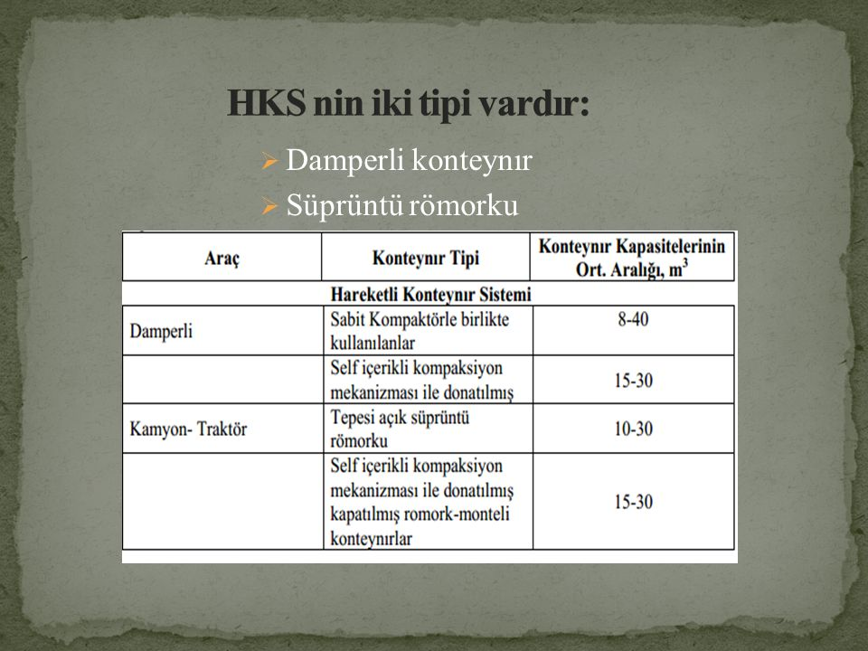 HKS nin iki tipi vardır: