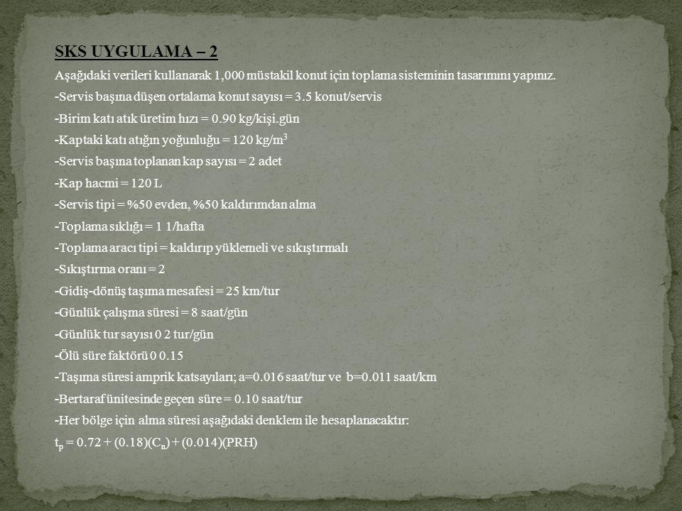 SKS UYGULAMA – 2 Aşağıdaki verileri kullanarak 1,000 müstakil konut için toplama sisteminin tasarımını yapınız.