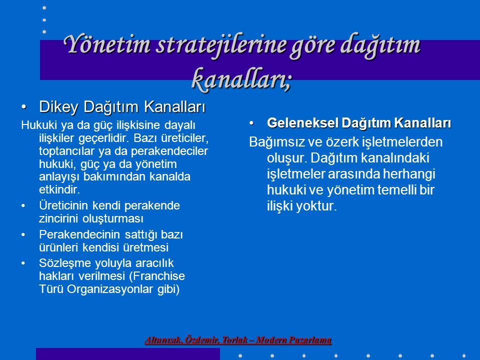 Yönetim stratejilerine göre dağıtım kanalları;