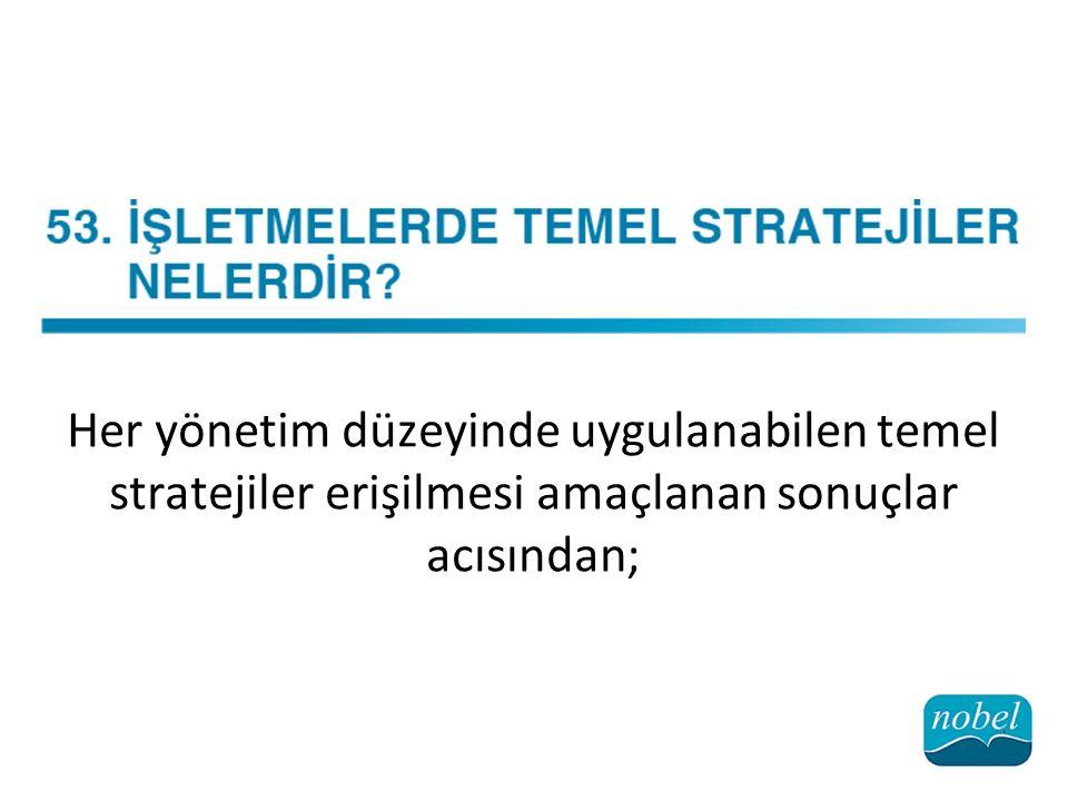 Her yönetim düzeyinde uygulanabilen temel stratejiler erişilmesi amaçlanan sonuçlar acısından;