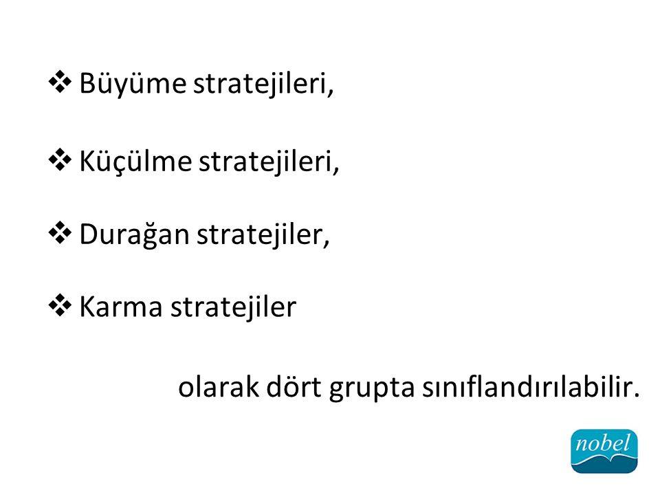 Büyüme stratejileri, Küçülme stratejileri, Durağan stratejiler, Karma stratejiler.