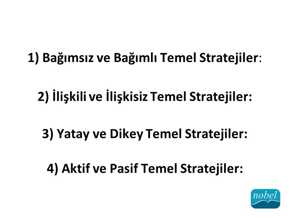 1) Bağımsız ve Bağımlı Temel Stratejiler: