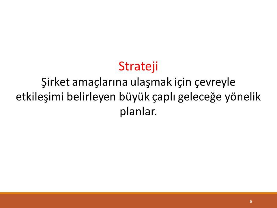 Strateji Şirket amaçlarına ulaşmak için çevreyle