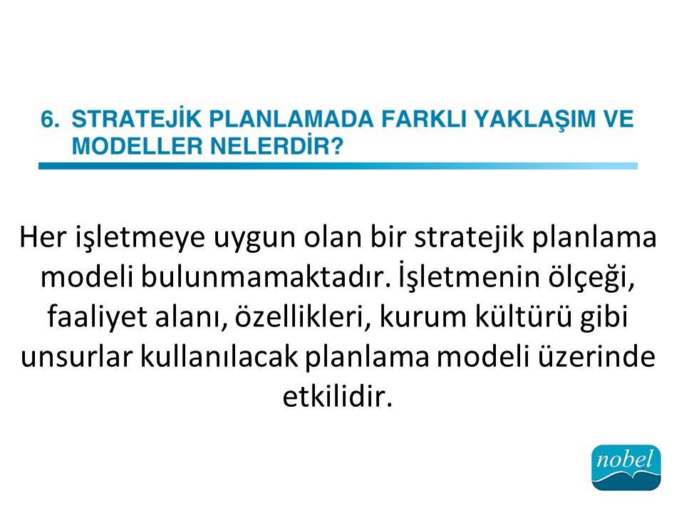 Her işletmeye uygun olan bir stratejik planlama modeli bulunmamaktadır