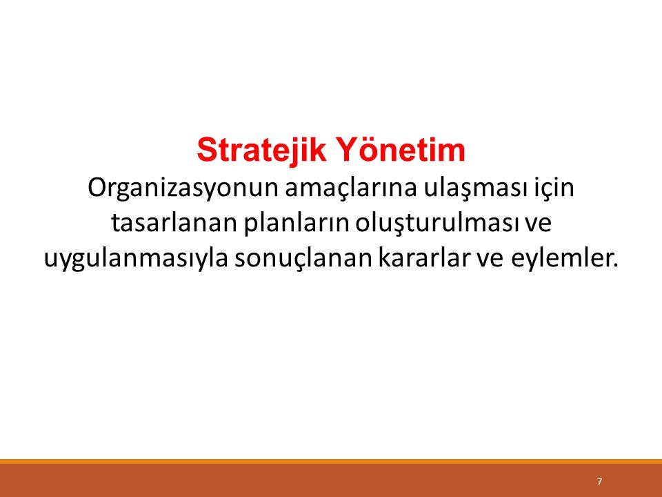 Stratejik Yönetim Organizasyonun amaçlarına ulaşması için tasarlanan planların oluşturulması ve uygulanmasıyla sonuçlanan kararlar ve eylemler.