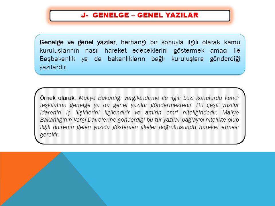 J- GENELGE – GENEL YAZILAR