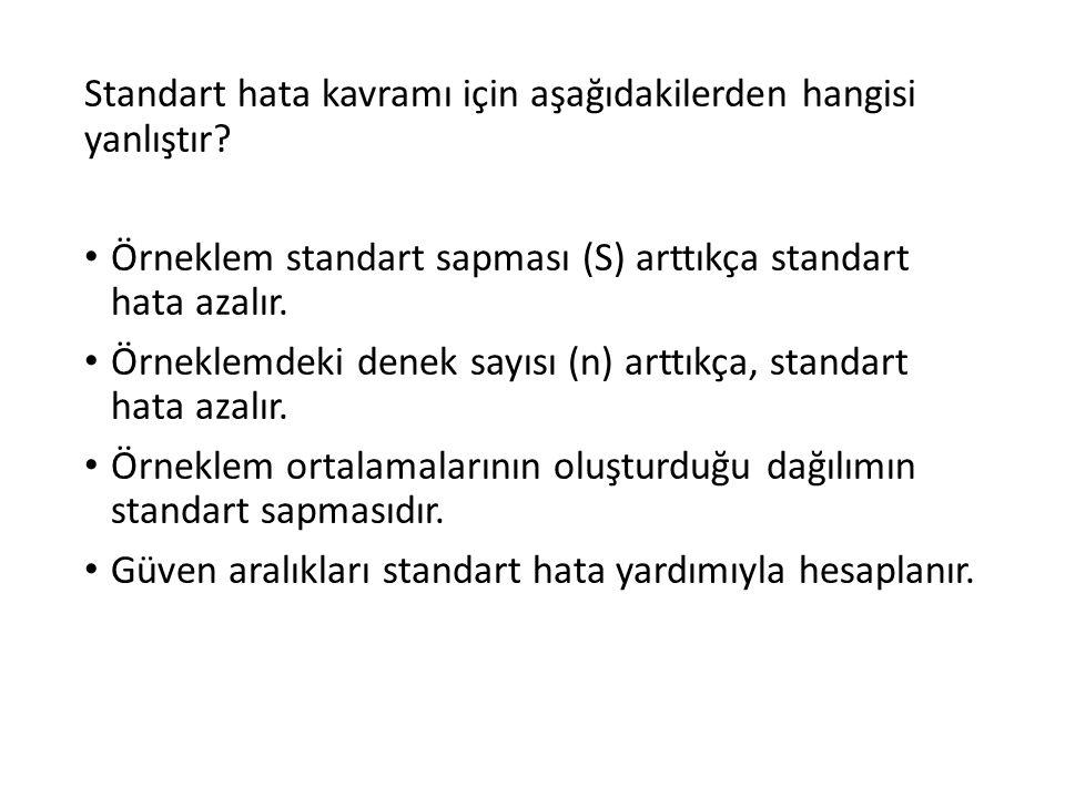 Standart hata kavramı için aşağıdakilerden hangisi yanlıştır