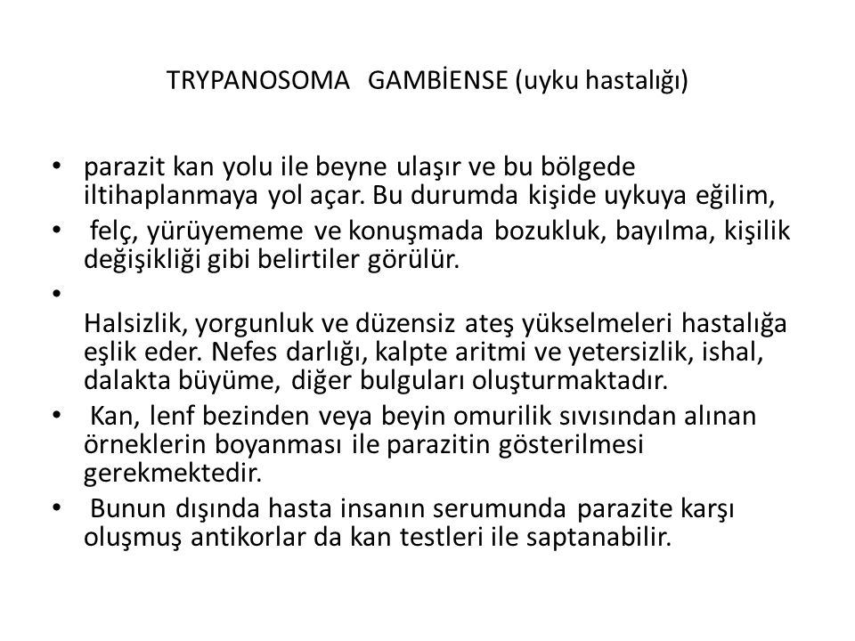 TRYPANOSOMA GAMBİENSE (uyku hastalığı)