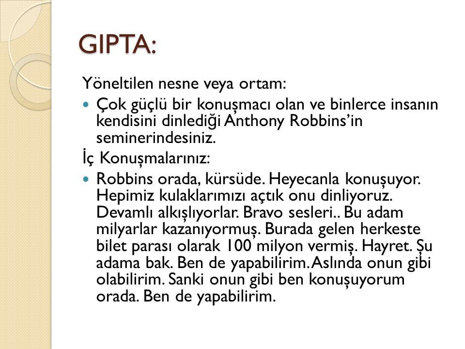 GIPTA: Yöneltilen nesne veya ortam: