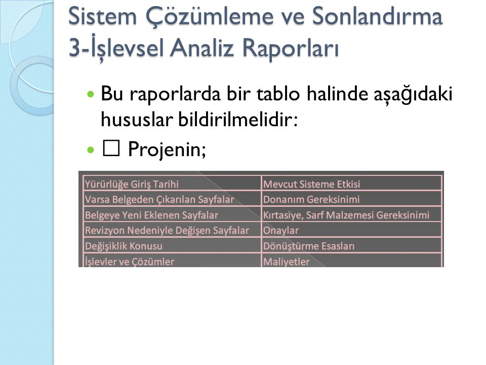 Sistem Çözümleme ve Sonlandırma 3-İşlevsel Analiz Raporları
