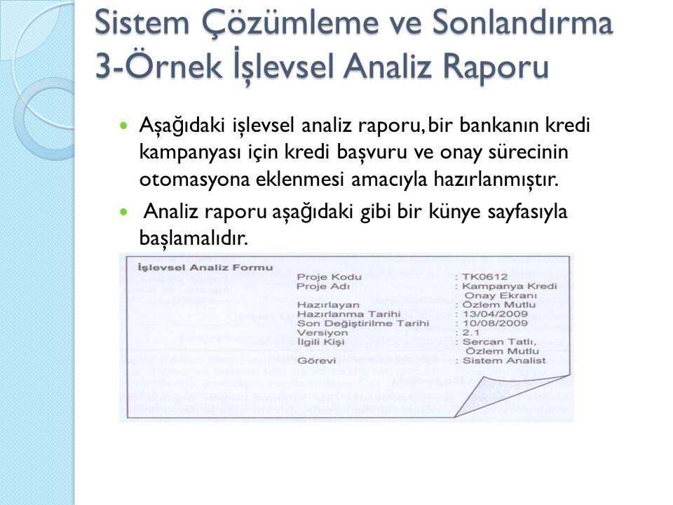 Sistem Çözümleme ve Sonlandırma 3-Örnek İşlevsel Analiz Raporu