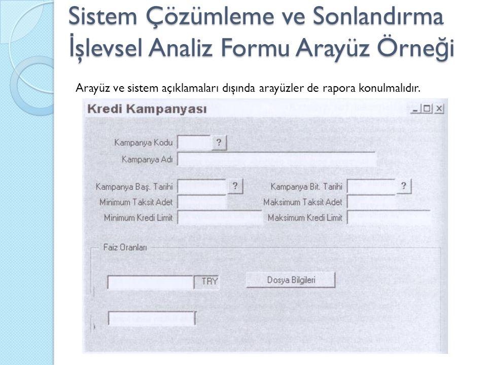 Sistem Çözümleme ve Sonlandırma İşlevsel Analiz Formu Arayüz Örneği