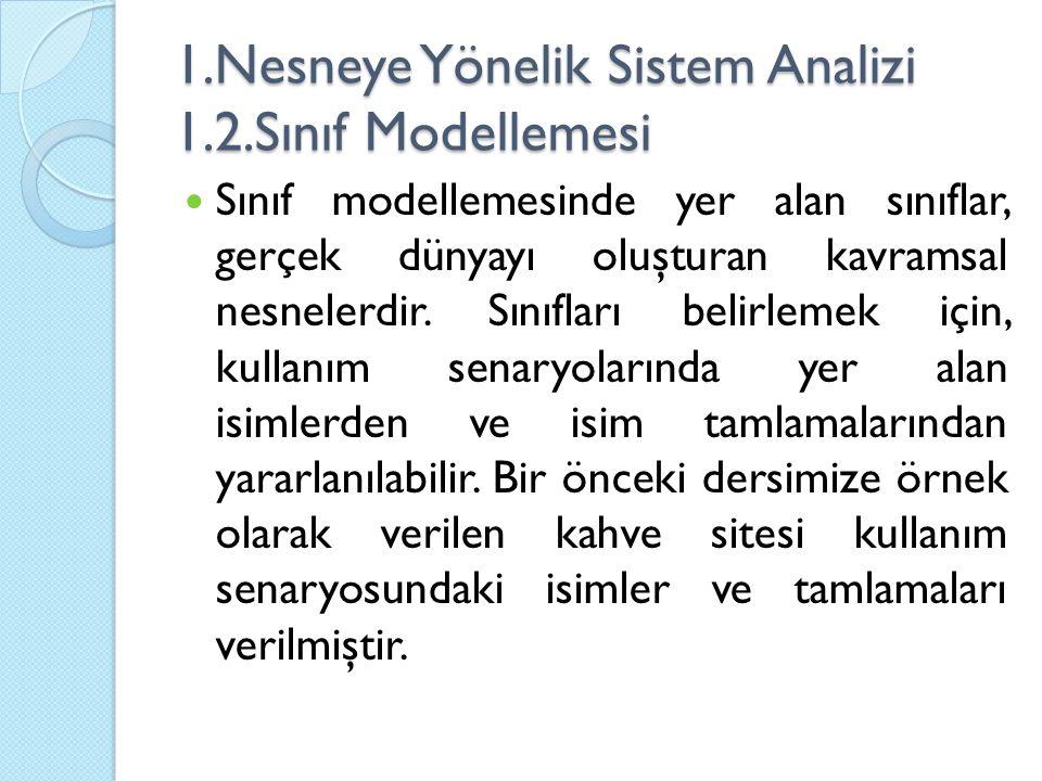 1.Nesneye Yönelik Sistem Analizi 1.2.Sınıf Modellemesi
