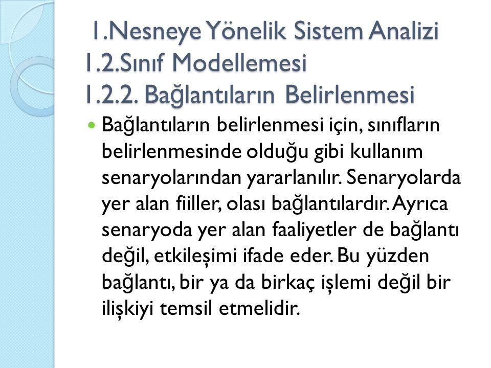 1. Nesneye Yönelik Sistem Analizi 1. 2. Sınıf Modellemesi 1. 2. 2