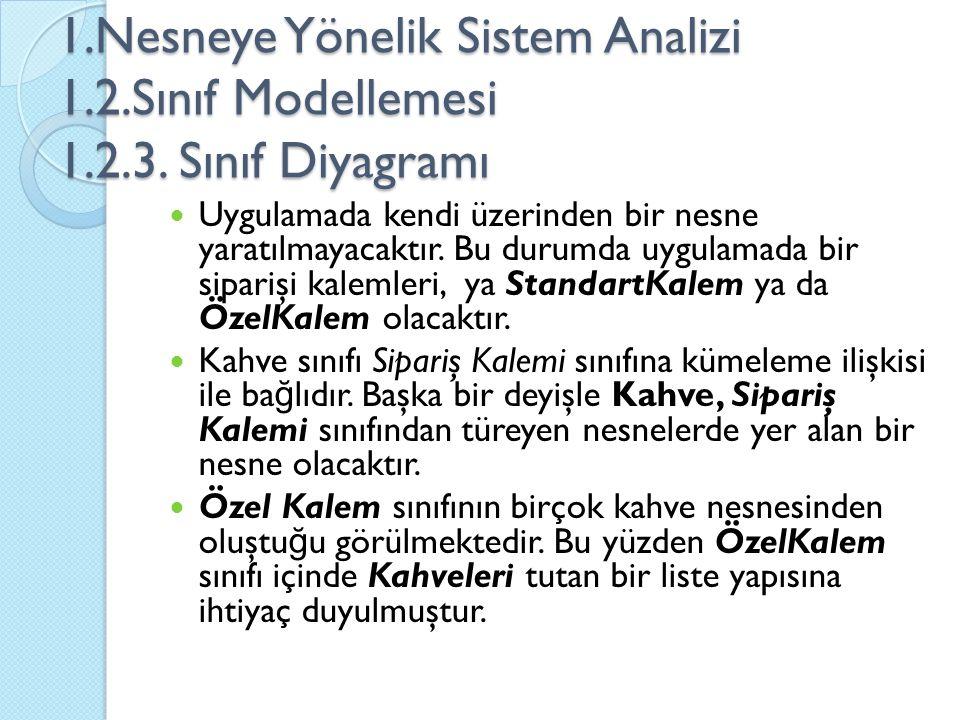 1. Nesneye Yönelik Sistem Analizi 1. 2. Sınıf Modellemesi 1. 2. 3