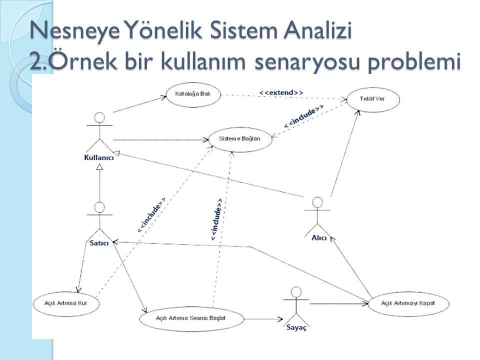 Nesneye Yönelik Sistem Analizi 2.Örnek bir kullanım senaryosu problemi