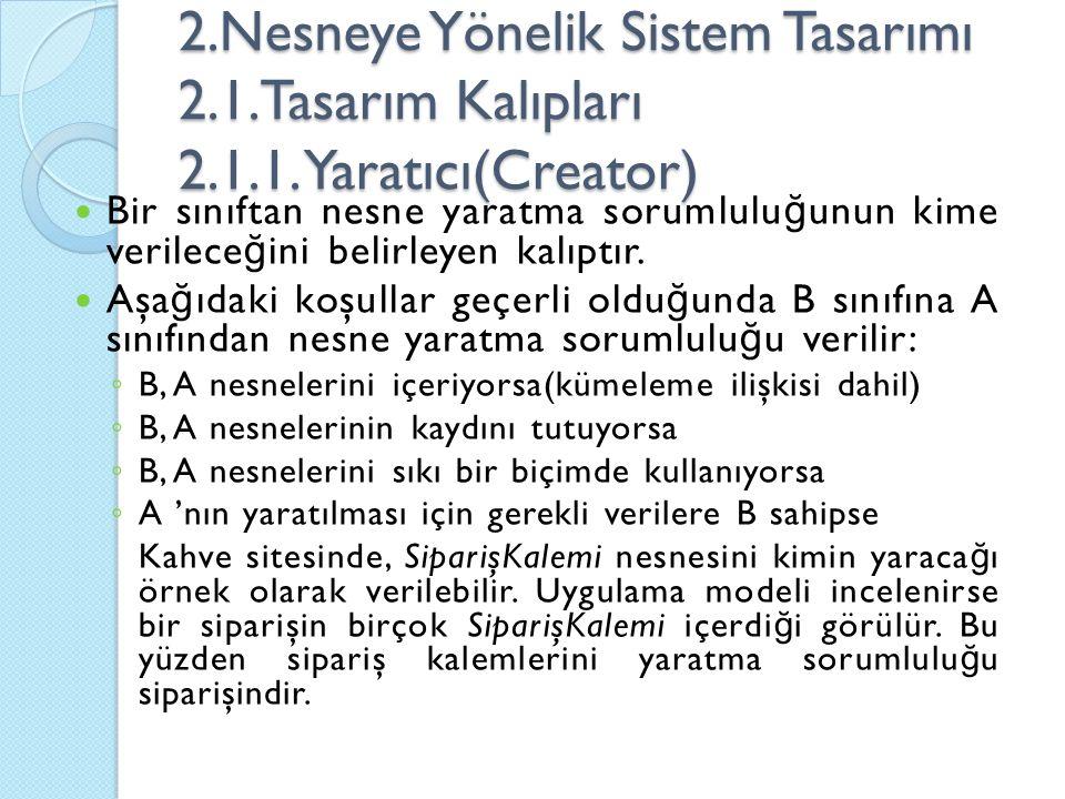 2. Nesneye Yönelik Sistem Tasarımı 2. 1. Tasarım Kalıpları 2. 1. 1