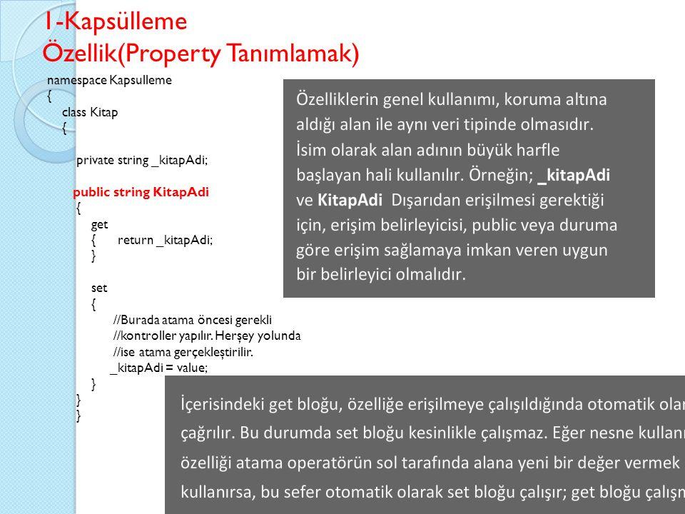 Özellik(Property Tanımlamak)