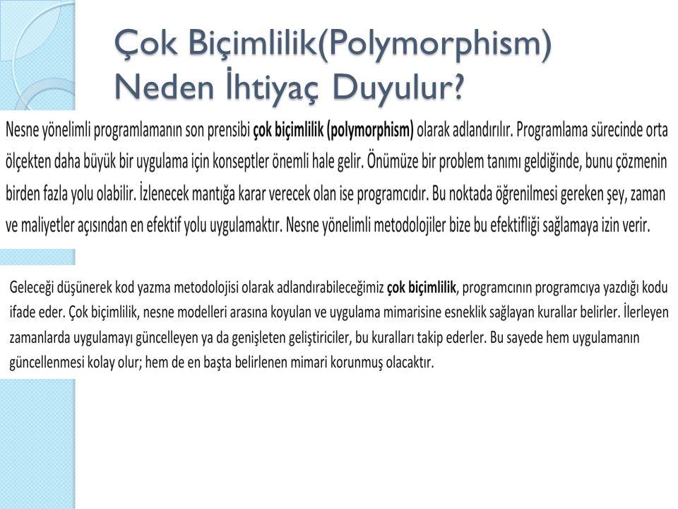 Çok Biçimlilik(Polymorphism) Neden İhtiyaç Duyulur