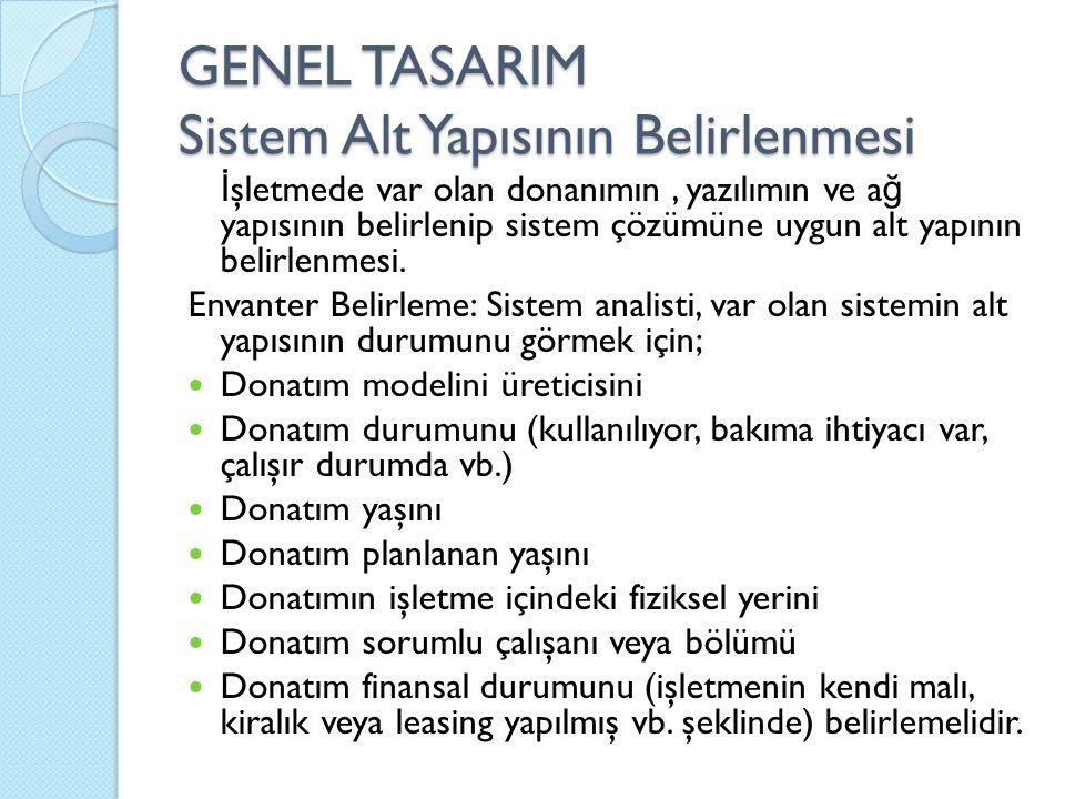 GENEL TASARIM Sistem Alt Yapısının Belirlenmesi