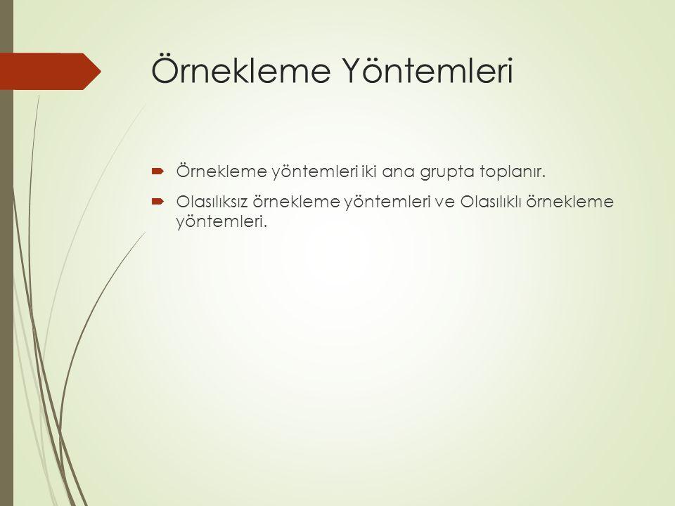Örnekleme Yöntemleri Örnekleme yöntemleri iki ana grupta toplanır.