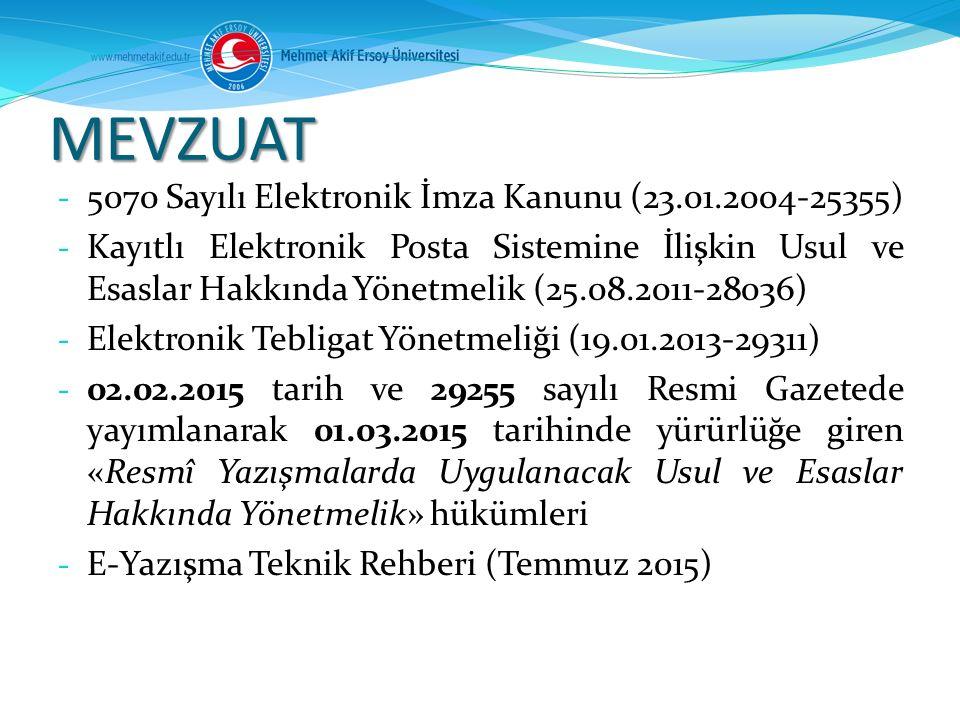 MEVZUAT 5070 Sayılı Elektronik İmza Kanunu (23.01.2004-25355)