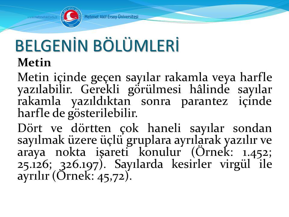 BELGENİN BÖLÜMLERİ Metin.