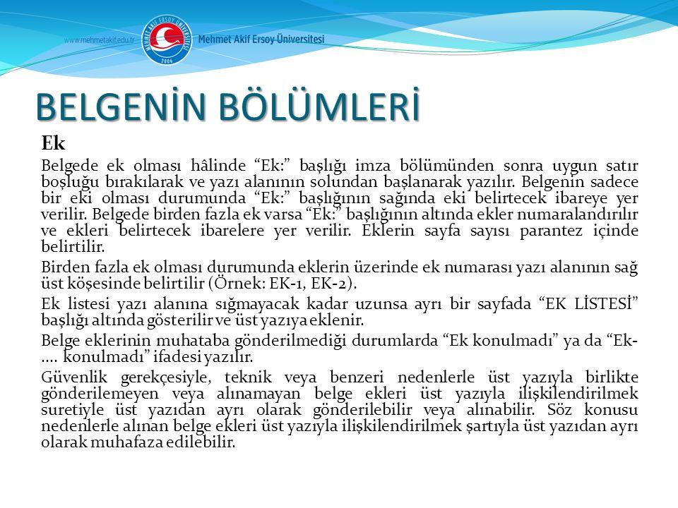 BELGENİN BÖLÜMLERİ Ek.