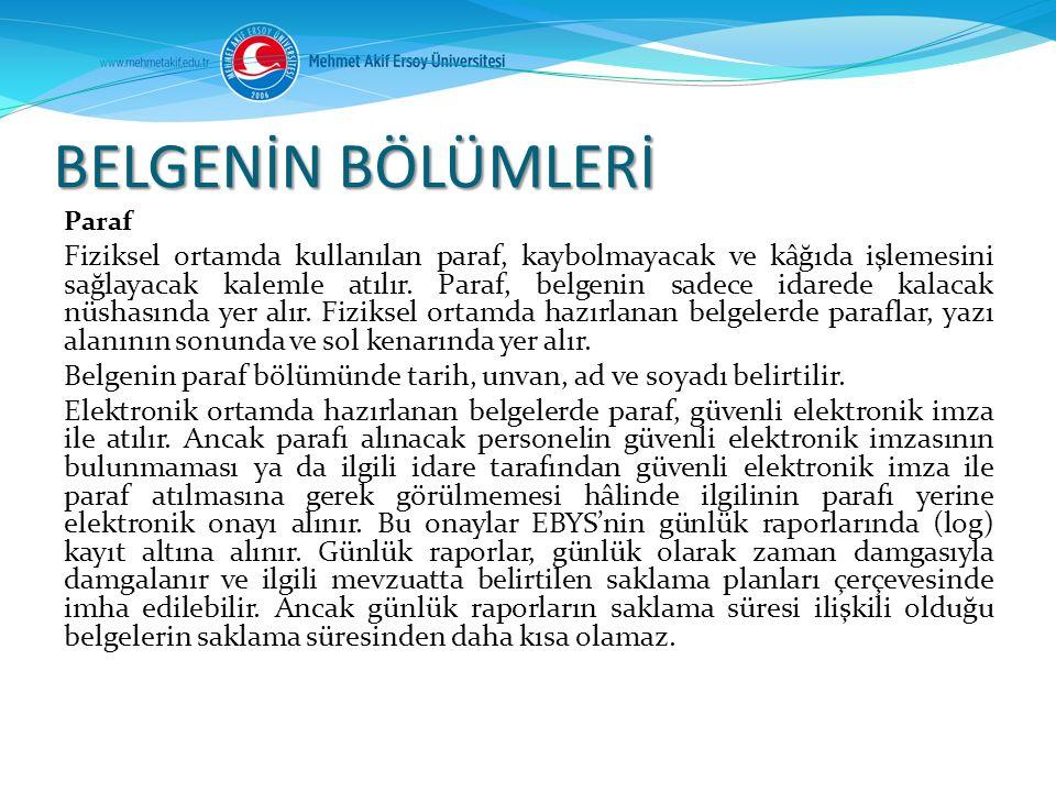 BELGENİN BÖLÜMLERİ Paraf.