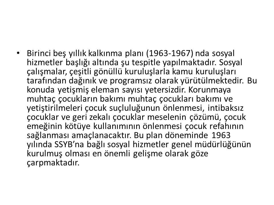 Birinci beş yıllık kalkınma planı (1963-1967) nda sosyal hizmetler başlığı altında şu tespitle yapılmaktadır.